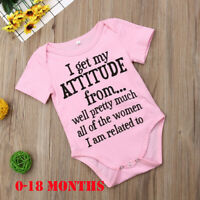 Newborn Infant Baby Girl Funny Letter Romper Jumpsuit Soft Clothes Outfits 0-18M