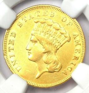 1855 Three Dollar Indian Gold Coin $3 - Certified NGC AU Details - Rare Coin!
