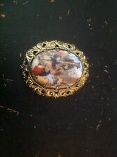 vintage handpainted brooch gold toned