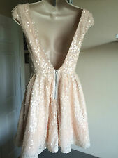 Bnwt Beautiful TopShop Nude Sequin Embellished Cap Sleeve Skater Dress UK Size 8