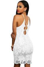 Abito ricamato nudo Pizzo Lacci Cerimonia Cocktail Lace Floral Party Dress M