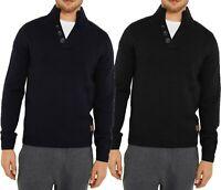 Mens Threadbare Shawl Neck Jumper Sweater Wool Blend Thick Chunky Knit