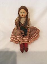 """PRETTY VINTAGE 12"""" CELLULOID PAPER MACHE AND CLOTH GERMAN DOLL GIRL DOLL"""