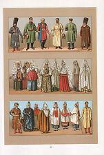 VINTAGE FASHION COSTUME PRINT ~ RUSSIA SLAVS & MONGOLIANS COSSACK CAFTAN WINTER