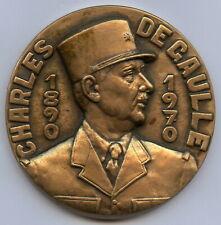 France General Charles de Gaulle 1890-1970 Bronze Art Medal 60mm 127gr !!!