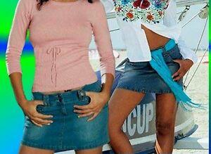 SeXy Miss Damen Girly Trendy Hüft Jeans Mini Rock FLASHLIGHTS retro 32 34 36 NEU