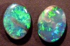 Australian Queensland Boulder Opal Cut Stones Pair Blue Green 9x7mm (756)
