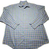 Peter Millar Crown Mens Blue Yellow Plaid LS Button Down Dress Shirt Size XL