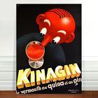 "Stunning Vintage Alcohol Poster Art ~ CANVAS PRINT 36x24"" Kinagin Vermouth"
