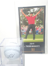 NEW TIGER WOODS 2019 OTP MASTERS WIN CARD & SIGNATURE BALL - GREAT UNIT