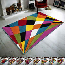 Modern Funky Abstract Rug Bright Soft Indoor Living Room Carpet Multi Color Rugs