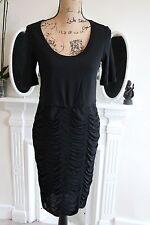 Burberry Black Ruched Shirred Cocktail Dress Short Sleeves 10 12 14 Medium M !