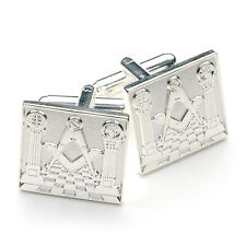 More details for stunning detailed silver masonic cufflinks pillars, pavement, craft