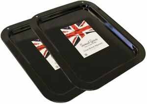 2X 36cm Vitreous Enamel Oven Roasting Baking Cooking Tray Made in England