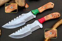 LOT OF 2 CUSTOM HANDMADE STAINLESS STEEL  HUNTING TRAKER KNIFE WOOD HANDLE KIF