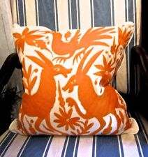 """ORANGE Otomi 20 X 20"""" Embroidered Pillow Cover BEST! Hand Done"""