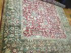 100% Wool Antique Rug, Handmade in India, 9'x12', with fringing on edge.