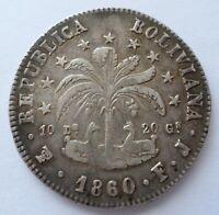 Bolivia 1860 Silver .903 8 Soles 10 Dineros 20 Grains 20.2g 36mm FJ VF+ KM#138.6
