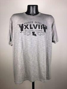 Men's '47 Brand Light Gray Cotton Super Bowl 41 New Orleans Lousiana Tee XL 2013