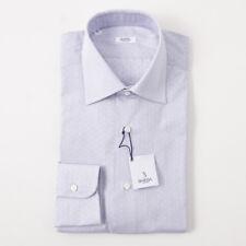 NWT $350 BARBA NAPOLI Blue-White Micro Jacquard Cotton Dress Shirt 15 x 35