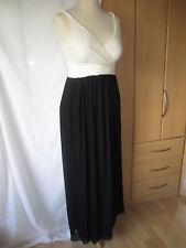 NEW NEXT Long Black Cream Evening Dress Size 10 Generous Stretchy -  Full Length