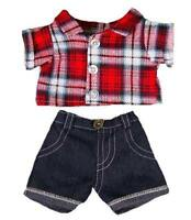 "8"" RED CHECKED SHIRT & JEANS TEDDY BEAR CLOTHES FITS 8""-10"" /20cm TEDDY BEARS"