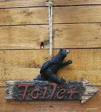 """""""TOILET"""" Black Bear Bathroom Whimsical Right Left Arrow Home Hunter Cabin Resin"""