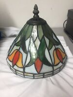 Stained And Slag Leaded Glass Boudoir Table Lamp Shade
