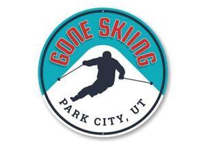 Gone Skiing Skier Gift Idea, Ski Lodge Novelty Sign, Ski Resort Aluminum Sign