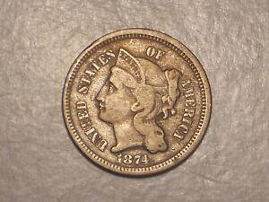 1874 Three Cent Piece (Fine & Attractive)