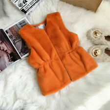 Women Faux Rabbit Fur Waistcoat Gilet Vest Jacket Coat Furry Fluffy Winter