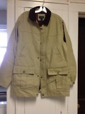 Lands End  Khaki Barn Jacket ,Corduroy Collar , Zip Front , Flannel Lined , L
