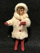 Victorian Christmas Girl German Cotton Vintage Ornament