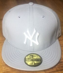 New Era NY Yankees Hat Light Gray Fitted Cap Size 7-5/8 *see description*