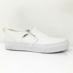 Vans Boys Asher 500714 White Running Shoes Slip On Low Top Size 13Y