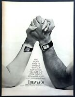 1971 Man & Woman Arm Wrestling photo Clip-on 18K Gold Watch Tiffany Co. print ad
