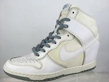 ff147c0218f2 Nike Dunk Sky High Essential Sz 10 White Grey Wedge Sneaker Shoes 644877 W