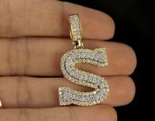 "Real 10K Yellow Gold ""S"" Initial Custom 3D Letter 2.00 CT Diamond Charm Pendant"
