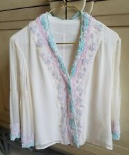 NWOT CREAM PINK BLUE SILK BUTTON DOWN EMBROIDERED PEIGNOIR TOP BLOUSE M 3/4 SLV
