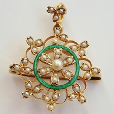 Fine Antique Edwardian 15ct Gold & Green Enamel Pearl set Pendant Brooch c1905