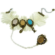 Bracelet + bague femme Gothique satin blanc plissé strass bleu rose jaune lapin