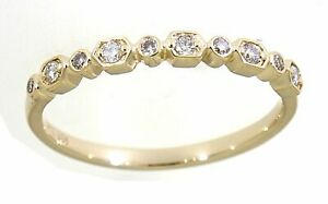Solid Real Natural Diamond 14K Yellow Gold 0.14CT Half Eternity Band Jewelry