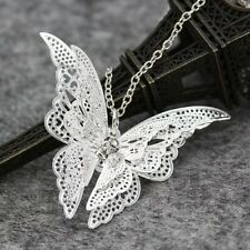 Womens Fashion Silver Plated Butterfly Pendant Necklace