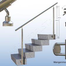 Edelstahlgeländer seitliche Anbringung 100 cm 1m Handlauf Treppe + gerade Garten
