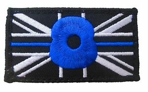 THIN BLUE LINE UNION JACK PATCH BADGE Hook Fastener POLICE Remembrance (BLUE)