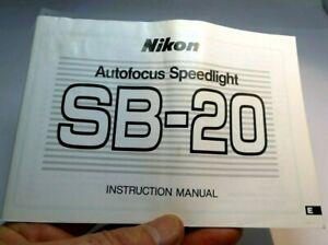 Nikon SB-20 Autofocus Speedlight Flash Istruzioni Manuale Guida (En)