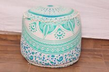 Green Indian Handmade Pouffe Ottoman Cover FootStool Floor Cushion Bean Bag UK