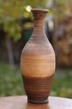 Earthy wine bottle Handmade Flower vase vessel Water jar Ceramic Pottery