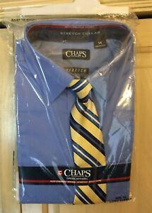 CHAPS Boys Long Sleeve Dress Shirt Blue With Clip Tie Stretch Sz 4-18 NWT