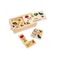 Wooden Dominoes Set Educational Kids Toy New Board Game Play Animal Fan Gift